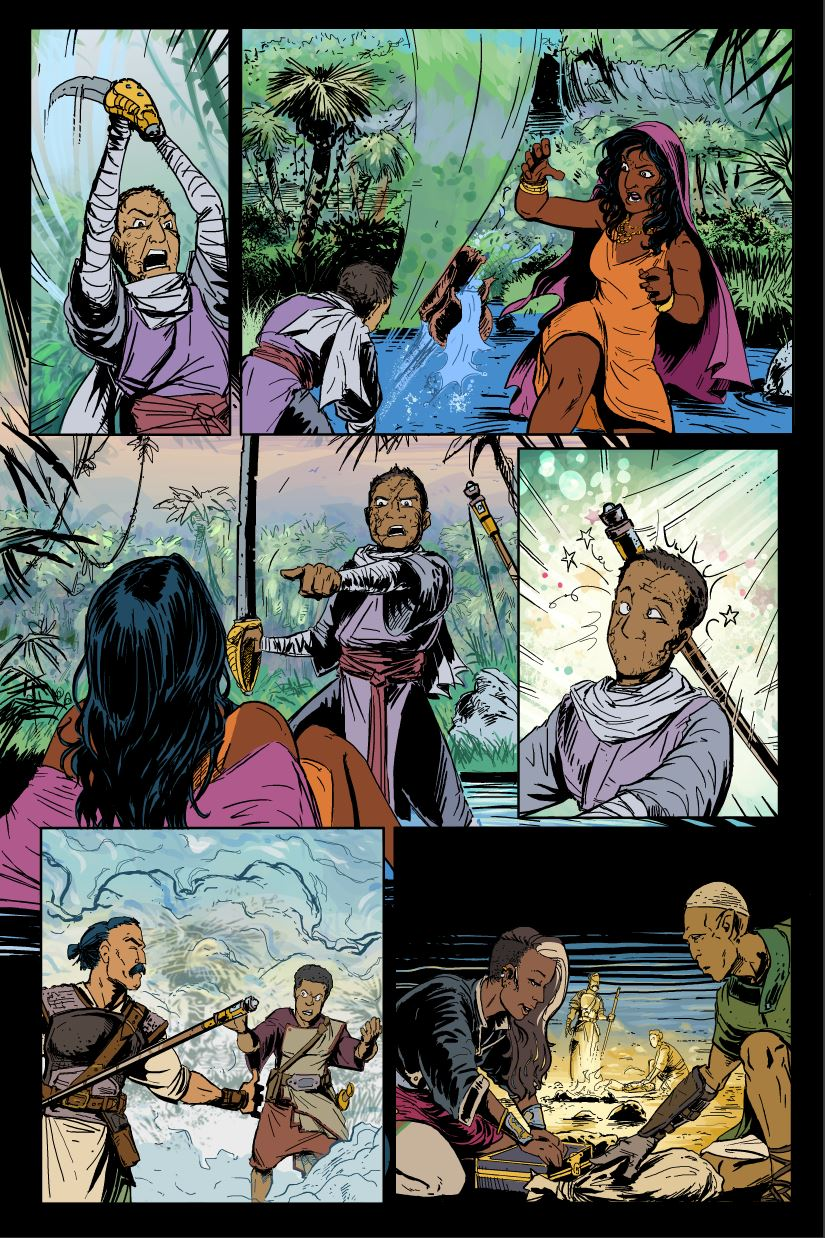Page 11 of M&A #2, with flat colours above the rendered background.