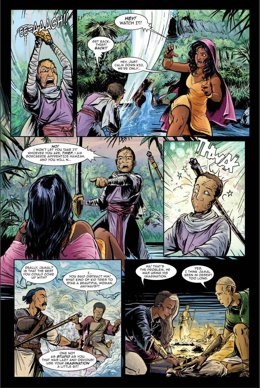 Page 11 of M&A #2, fully rendered and with text layers turned back on.