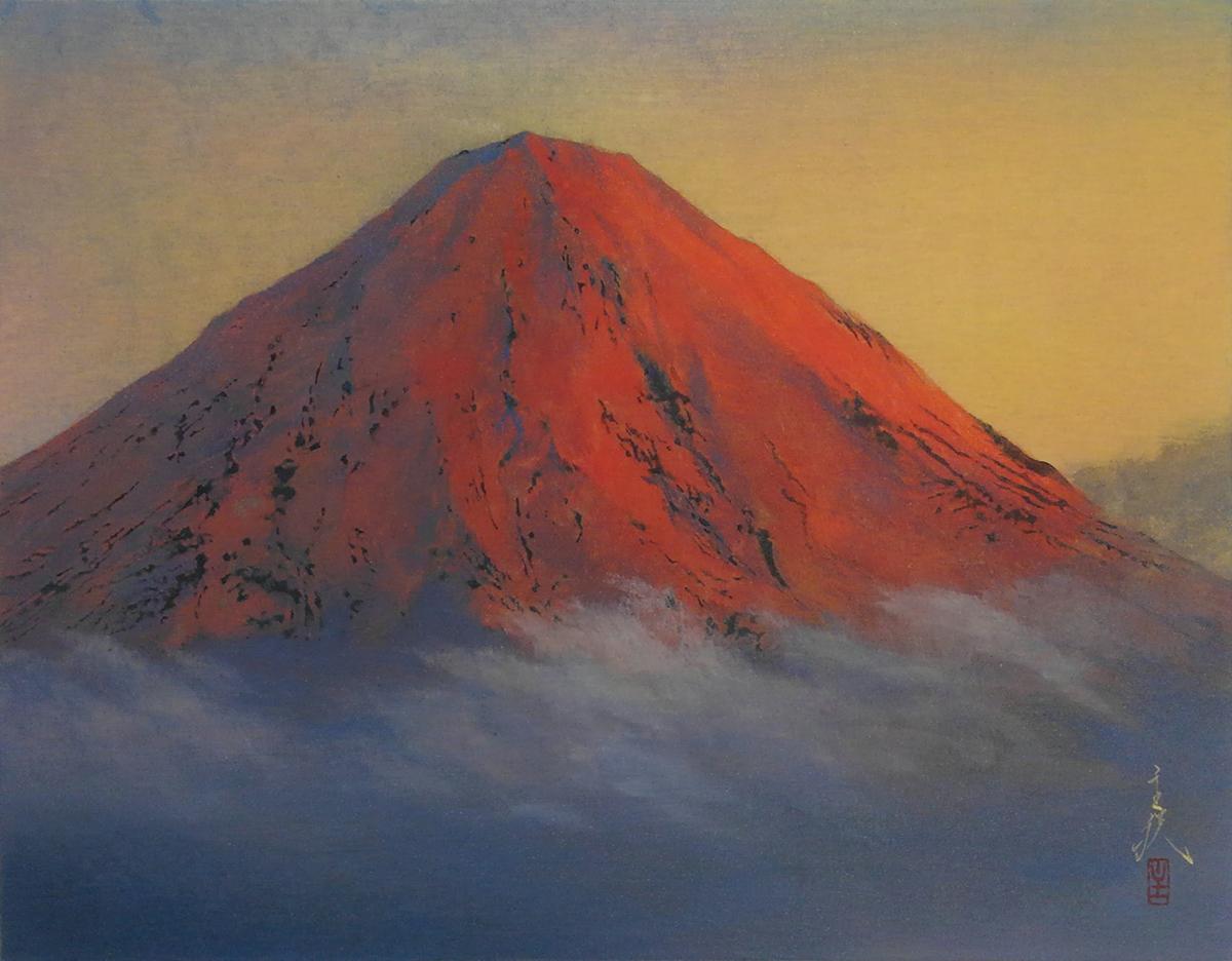 松浦主税「赤富士」   赤富士は、一瞬しか見られないので特別に縁起がいいものとされる。