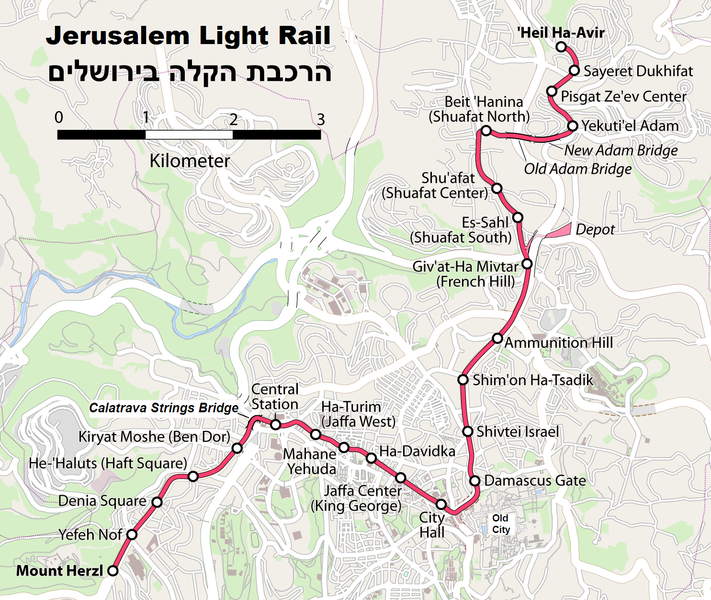 Map of Light Rail route. Click to enlarge.