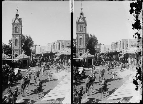Center of life in Jaffa revolved around the Clocktower. Photo from 1914. (Matson Collection from  Palestine Remembered )