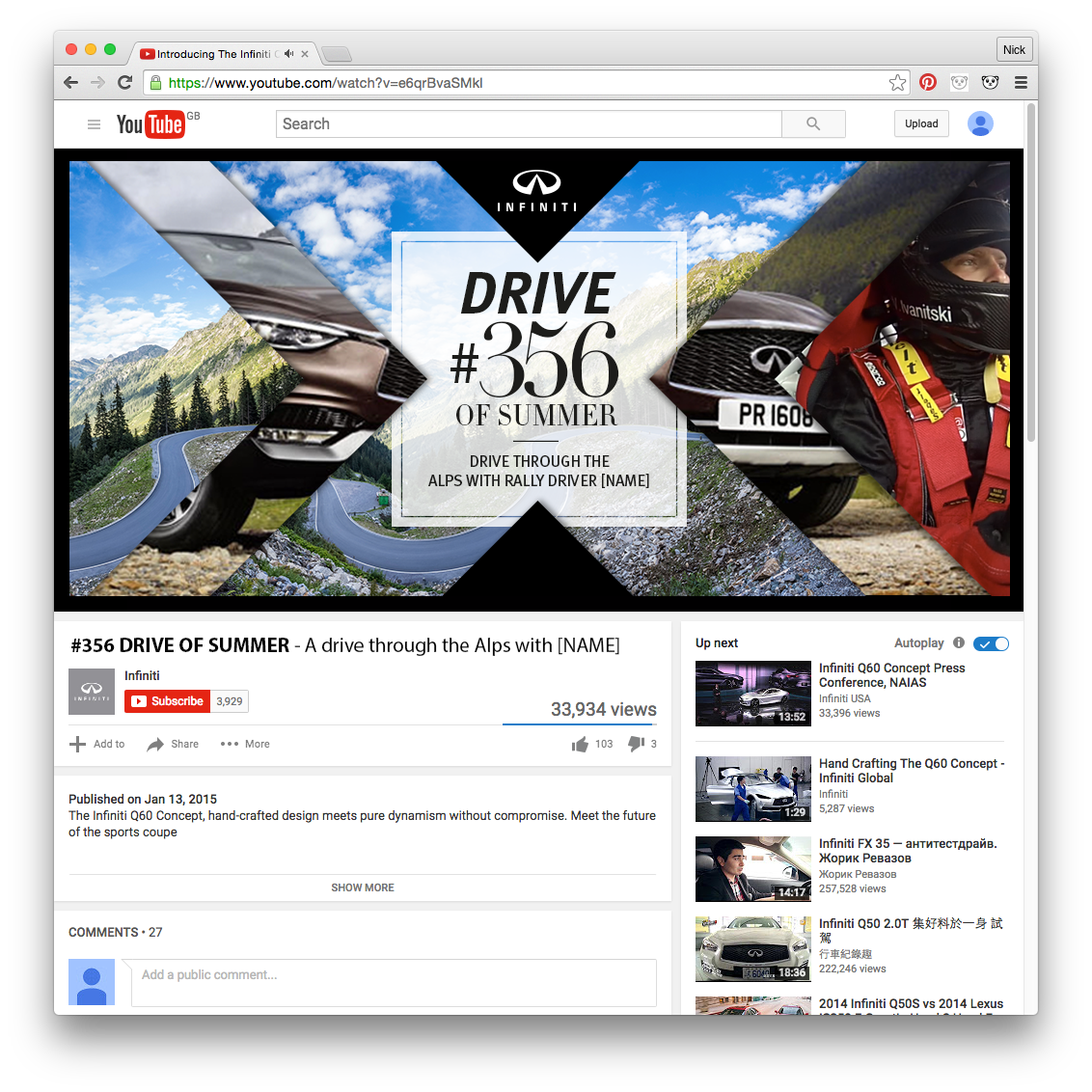 Influencer content on YouTube: to help awareness of the '500 Drives of Summer' campaign. Influencers take some of the drives.