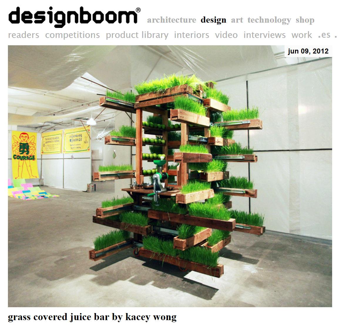 June/9/2012 designboom  Grass covered juice bar by kacey wong