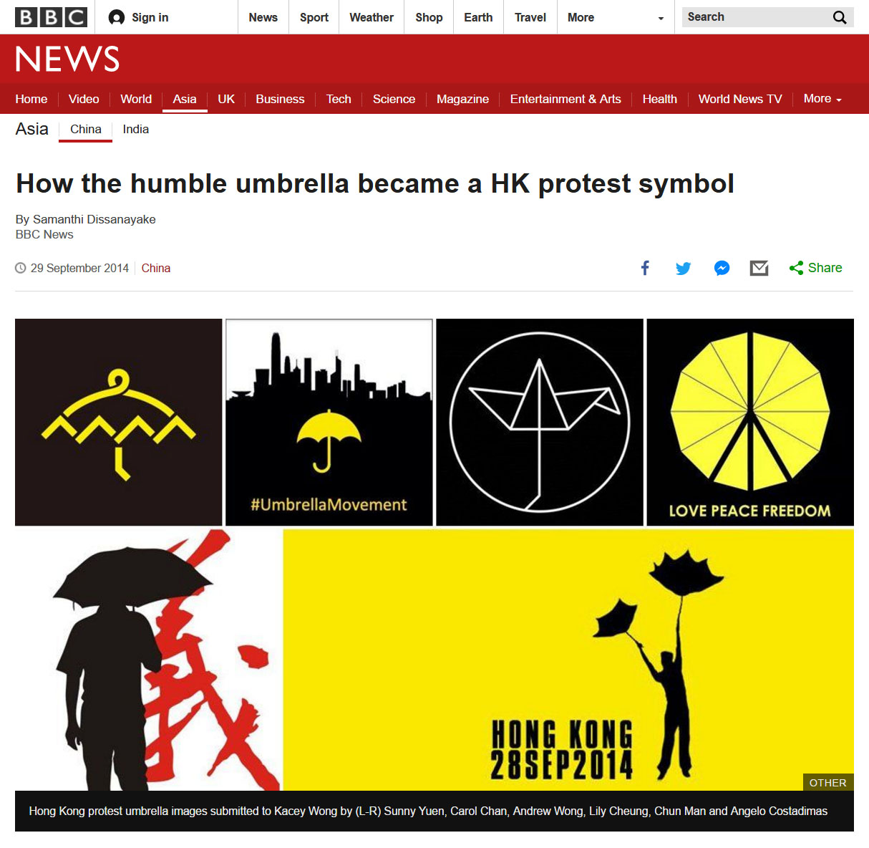 Sept/29/2014  How the humble umbrella became a HK protest symbol