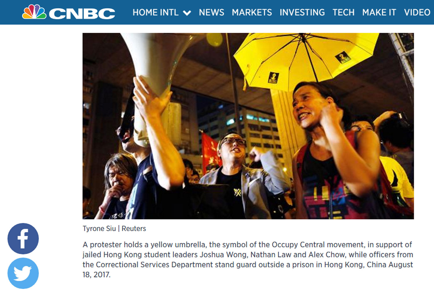 Aug/22/2017 CNBC  Thousands protest in Hong Kong over jailing of democracy activists