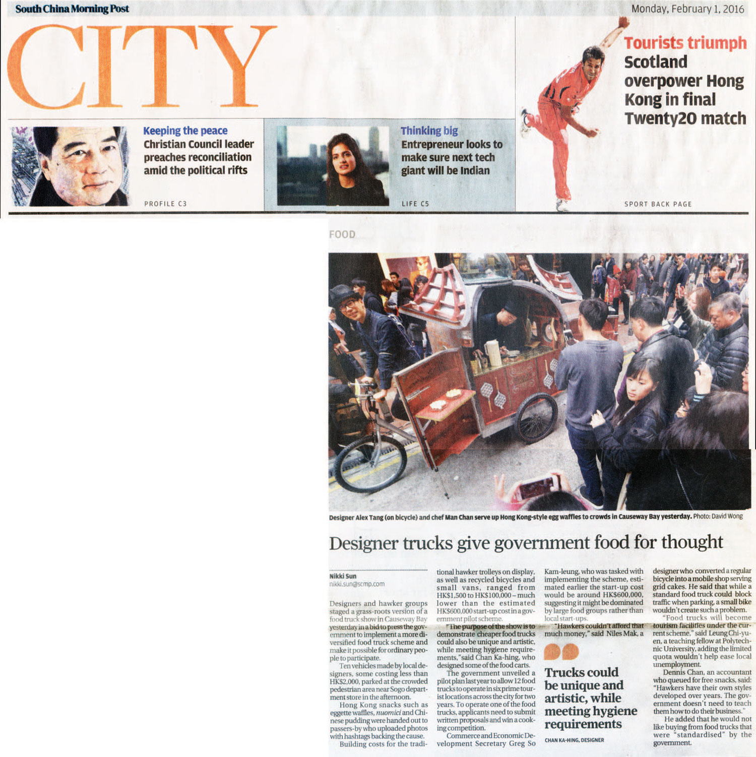 Feb/1/2016 SCMP  Designer trucks give government food for thought