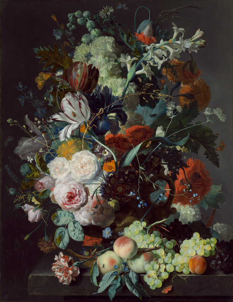 Jan van Huysum, Still Life With Flowers and Fruit, 1715. In the collection of the National Gallery of Art, Washington D.C. Image in public domain.