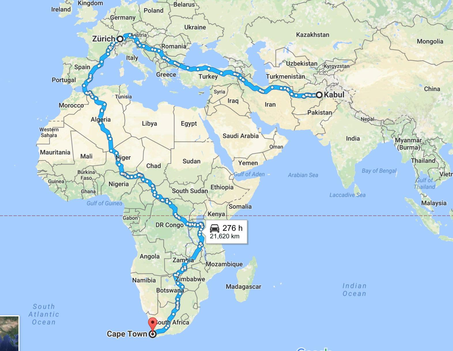 Part three – Kuala Lumpur to Kabul via Mongolia to Cape Town. Google Maps cannot find routes in Asia, unfortunately.