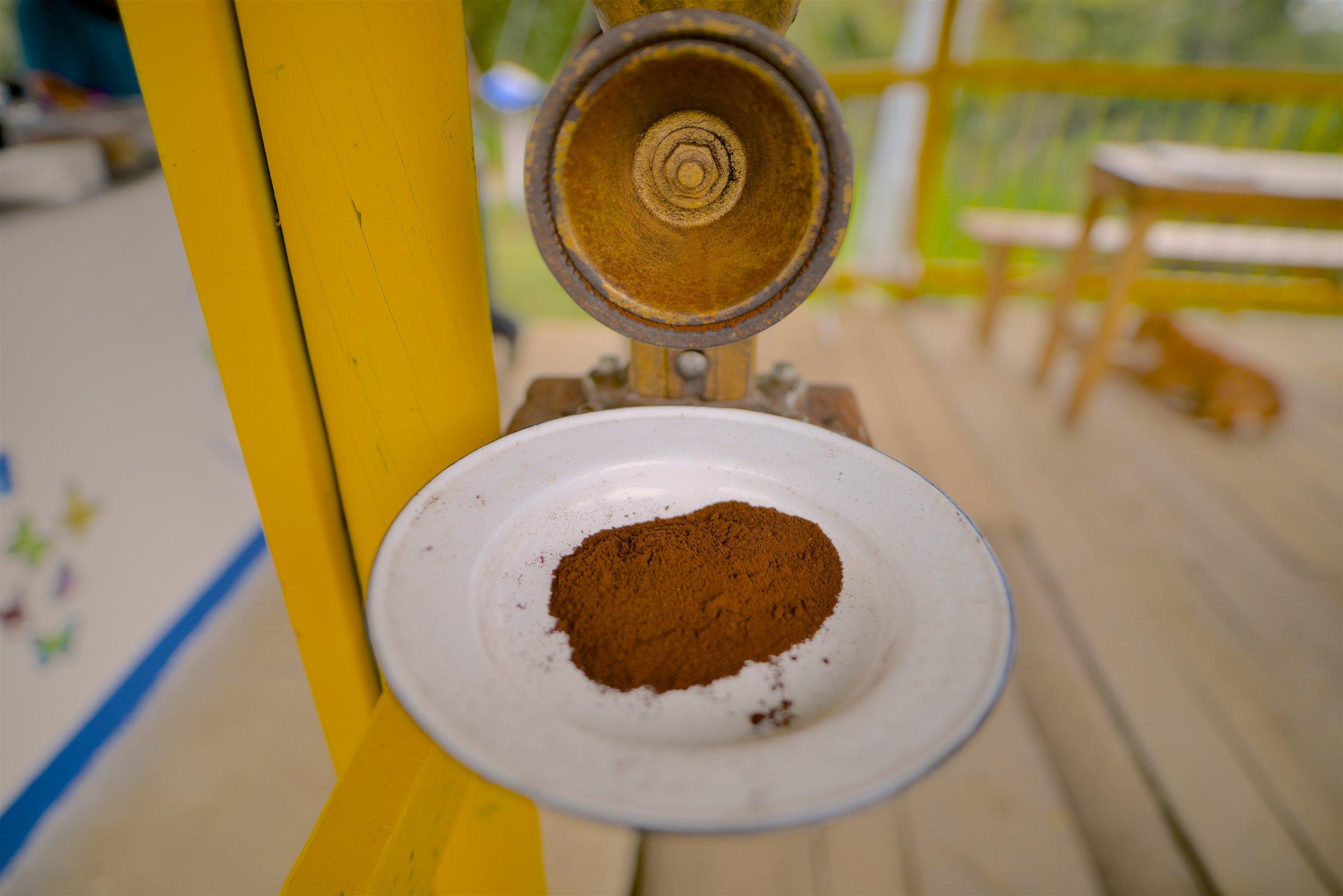 Freshly manually ground coffee !