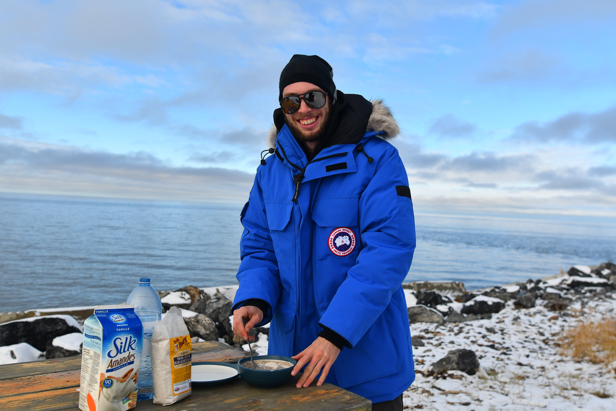 Cookin' buckwheat pancakes by the Arctic Sea.