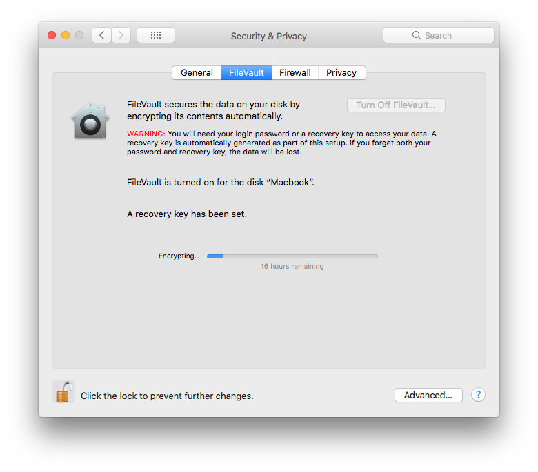 And this is the progress for my Macbook Pro 500 gig SSD Fivevault feature. 16 hours remaining.
