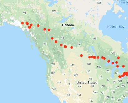 Cross-canada roadtrip map