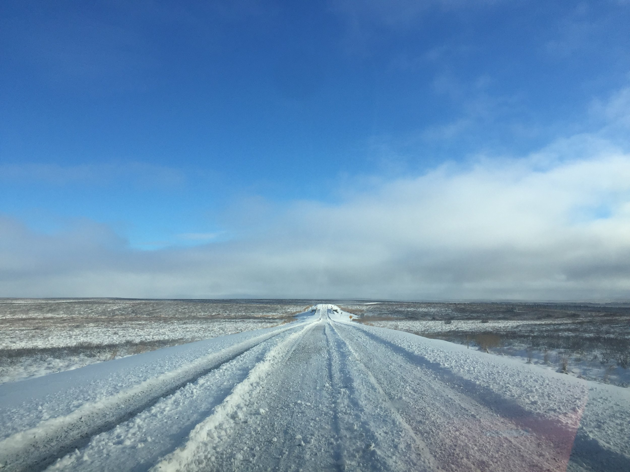 """Inuvik to Tuktoyaktuk road in late September. This highway cost over $300 million dollars for the Canadian tax payers. It connects Tuktuk to Inuvik with a four season """"highway"""". We will see how long the highway last. After all, it is built on permafrost."""