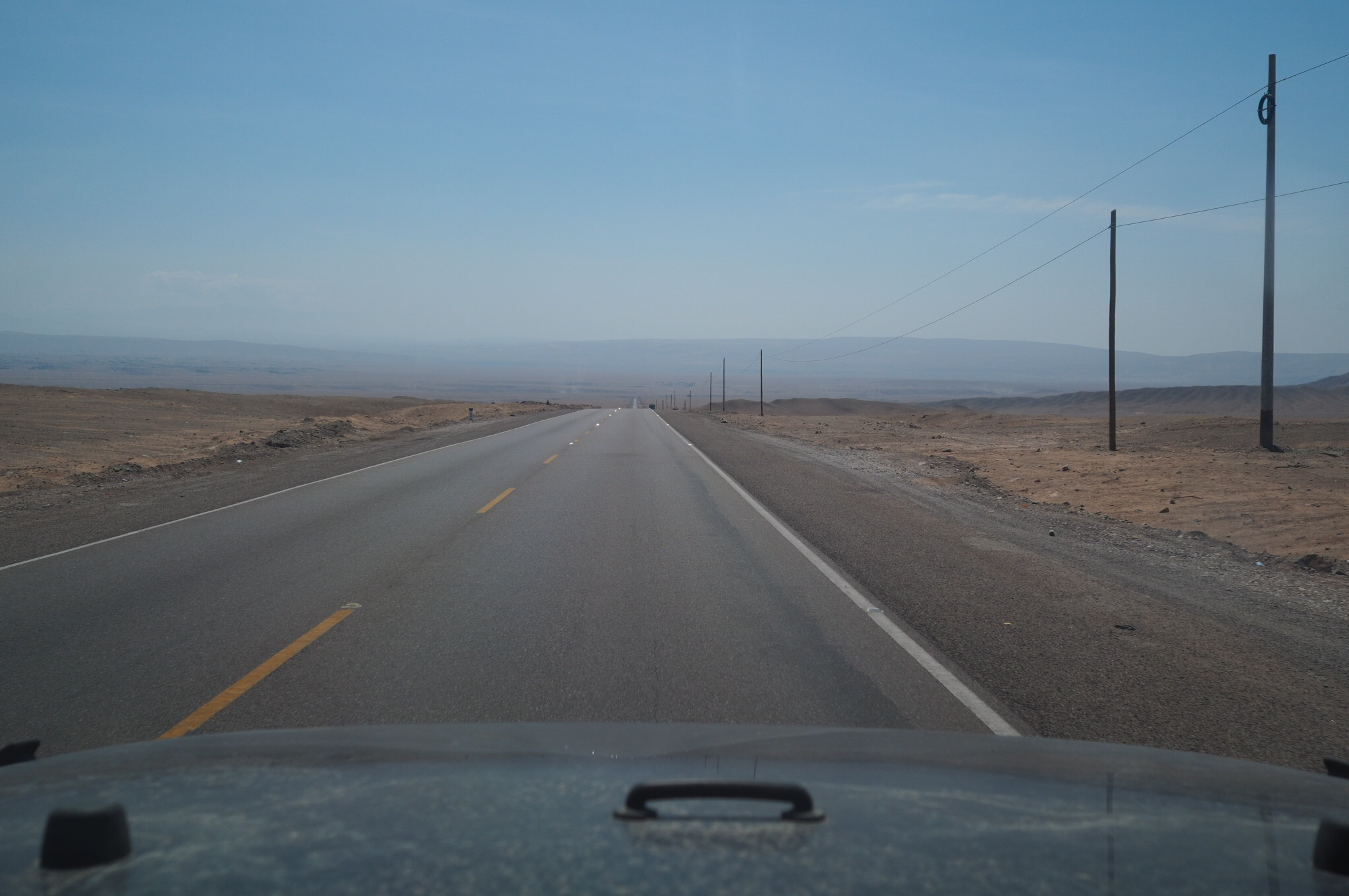 Cockpit view of the panamerican highway in Peru.
