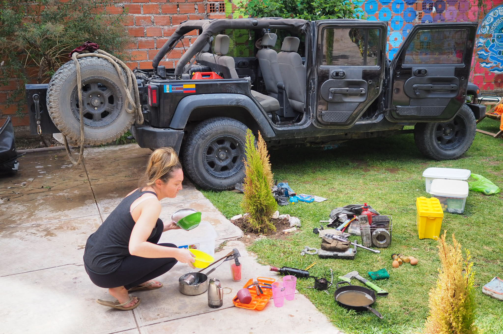 Somewhere in Sucre, Bolivia. My friend and I decided to give the Jeep a good clean-up before heading to Brazil.
