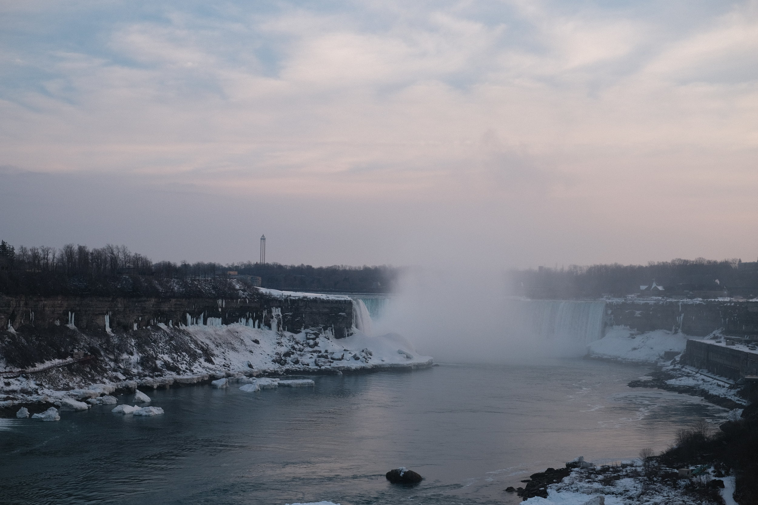 Niagara Falls, Ontario, Canada! The falls in the winter time is a sobering view.