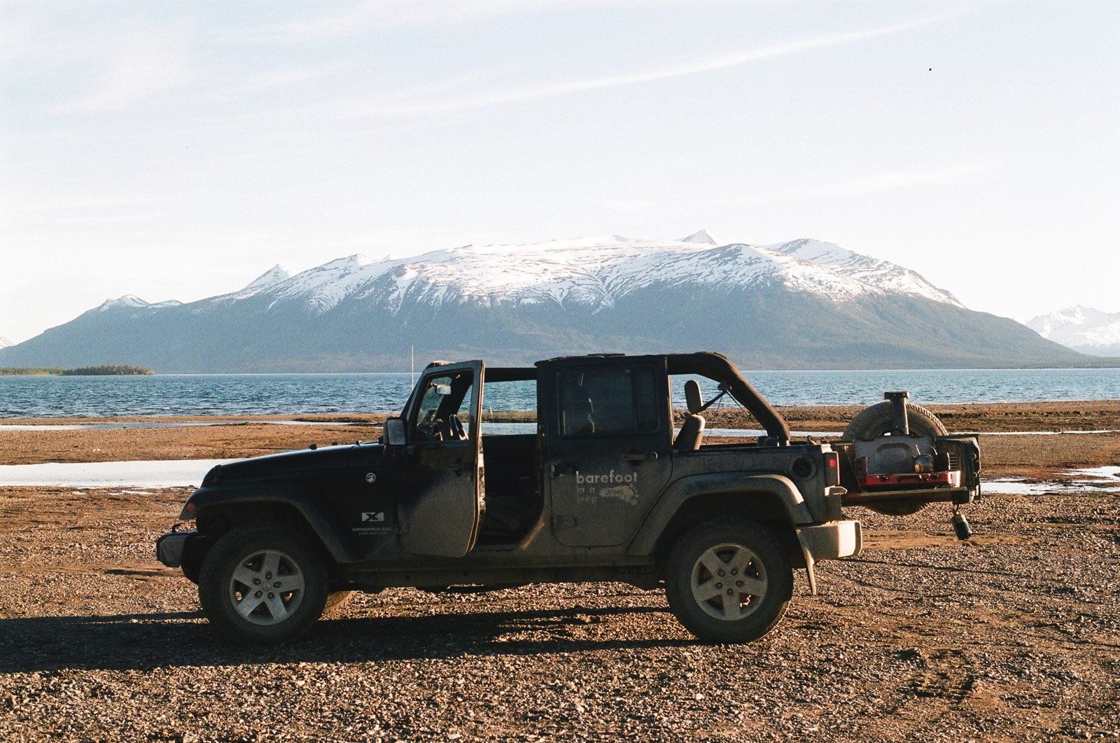 My jeep parked on the Atlin beach in northern British Columbia, Canada. I was making tea on the stove.
