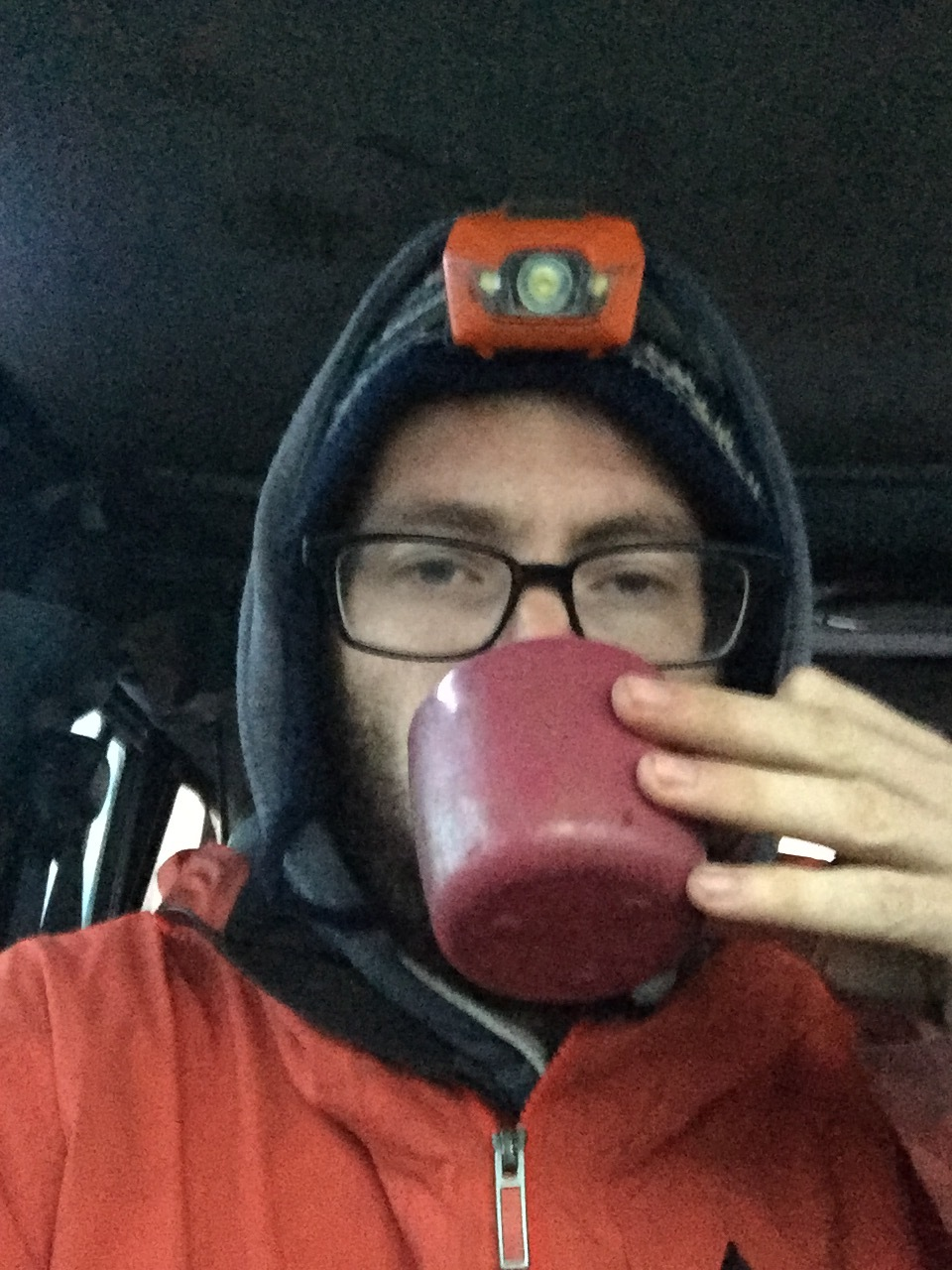 Waking up at 5000 metres altitude in Ecuador's highest volcano. I might have managed to sleep a few hours. A lack of oxygen and of warmth led to a very short night. I am sipping some cheap instant coffee, trying to manage the Jeep descent on snowy twisting roads.