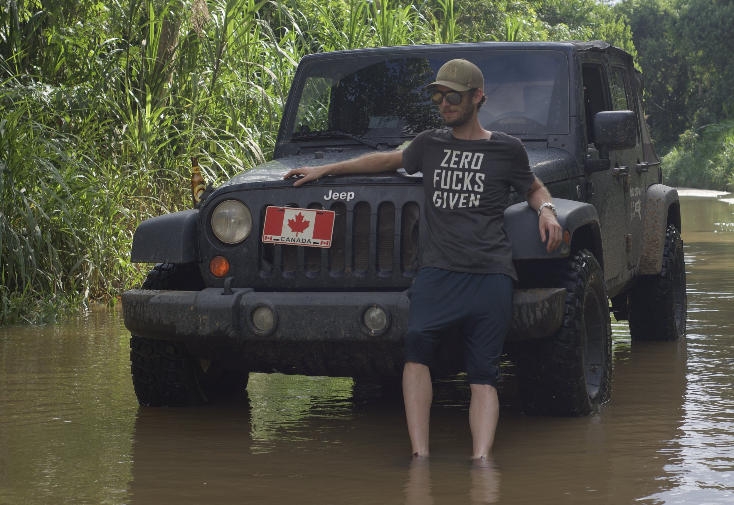 After almost loosing the Jeep in a river, I decided to pose with a ZERO FUCKS GIVEN t-shirt.