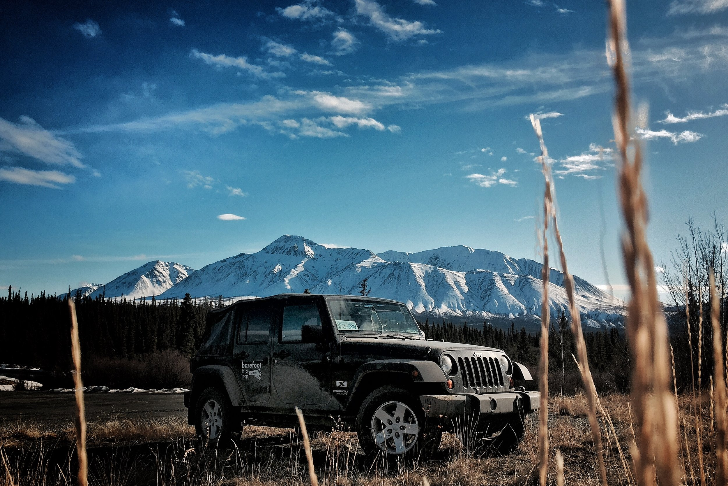 The Jeep posing around Haines Junction in the Yukon Territory, Canada.