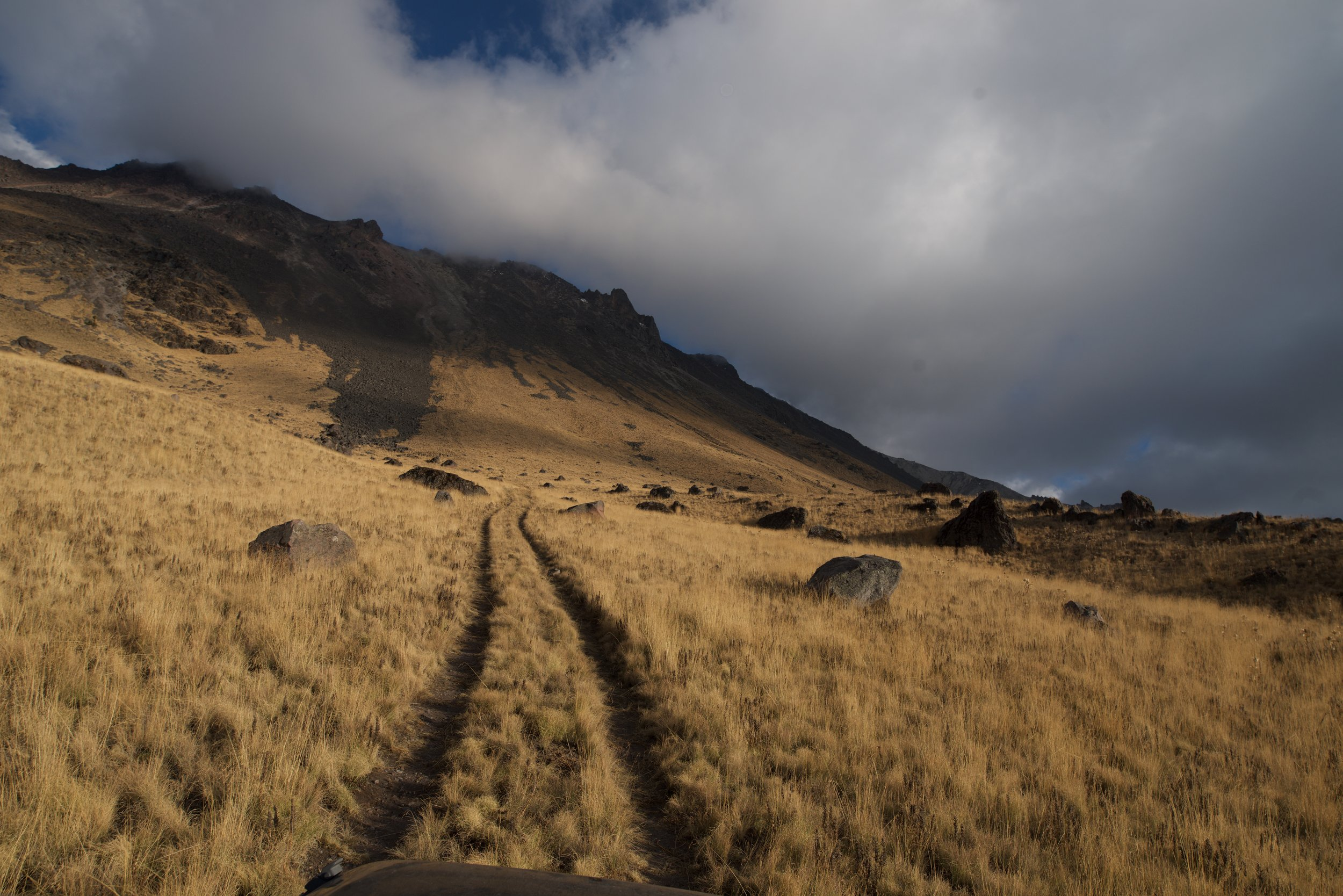 Climbing a volcano in 4x4 low-range. I went over 4000 metres in Mexico on a volcano.
