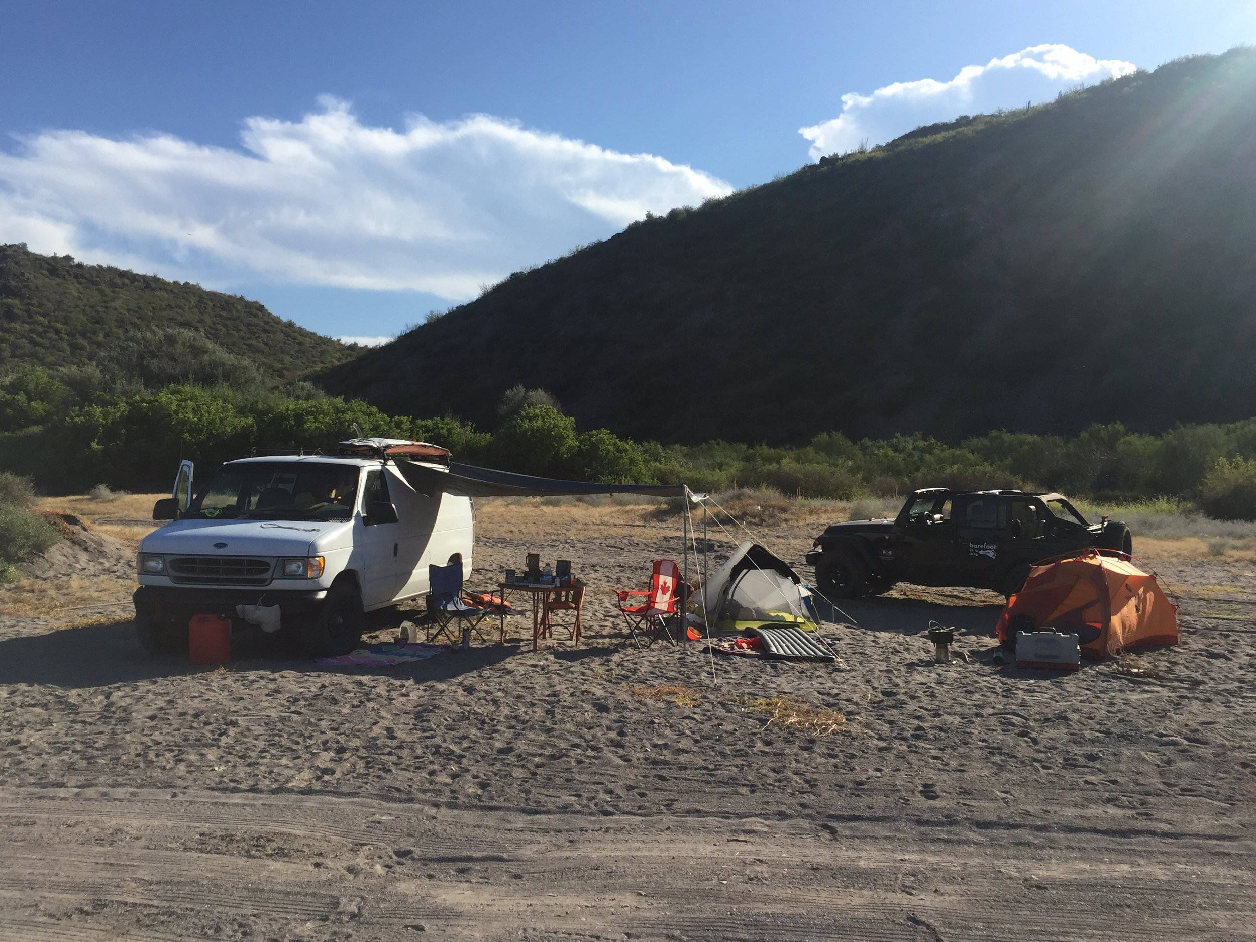 Camping with some other overlander in Baja California.