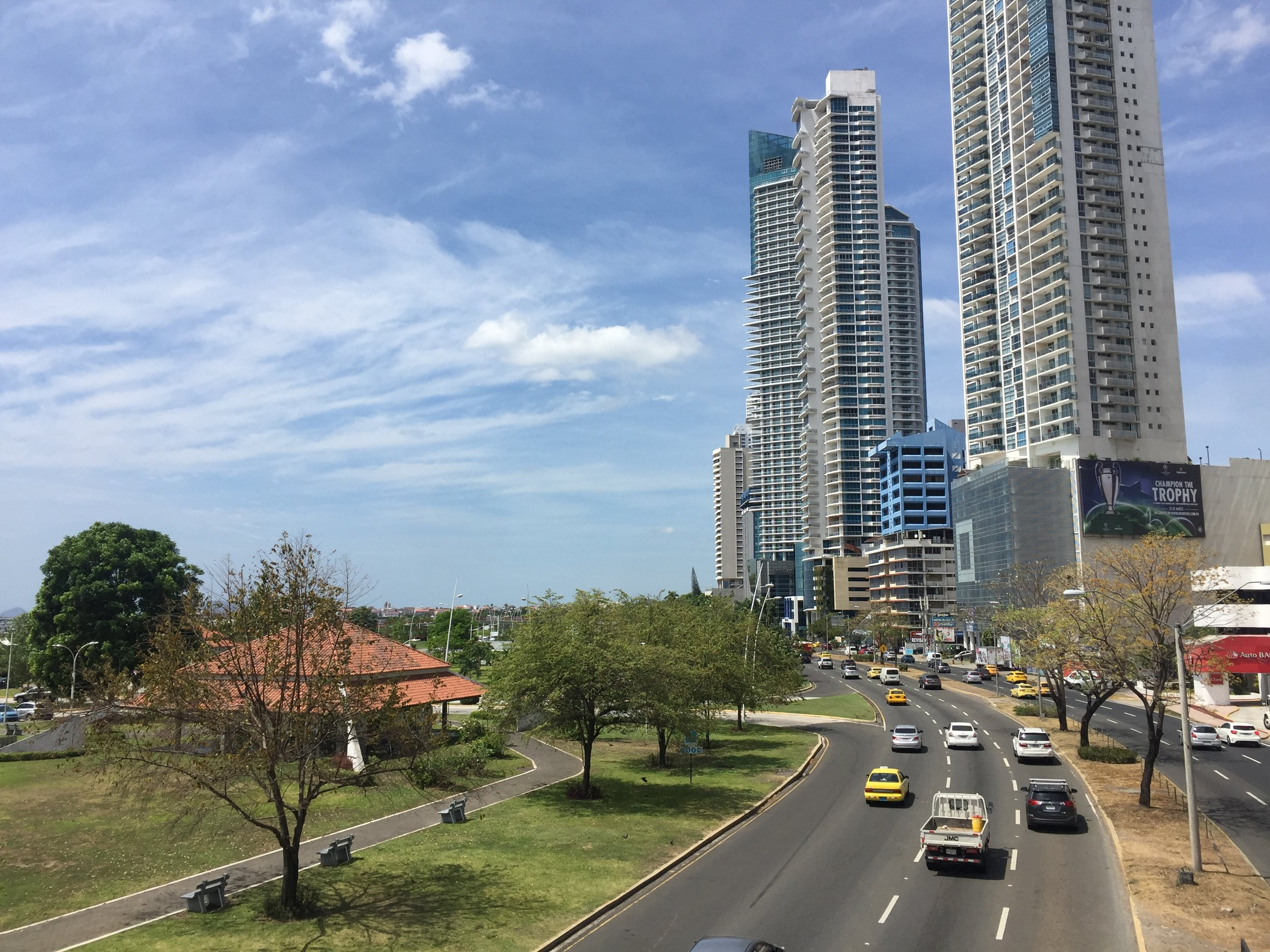 Panama city in Panama, the country. Cool country, cool city…never felt safe here. Hyper-americanized. A day is enough. But you might get stuck here for a while trying to make the required paperwork to get your 4x4 in a container.