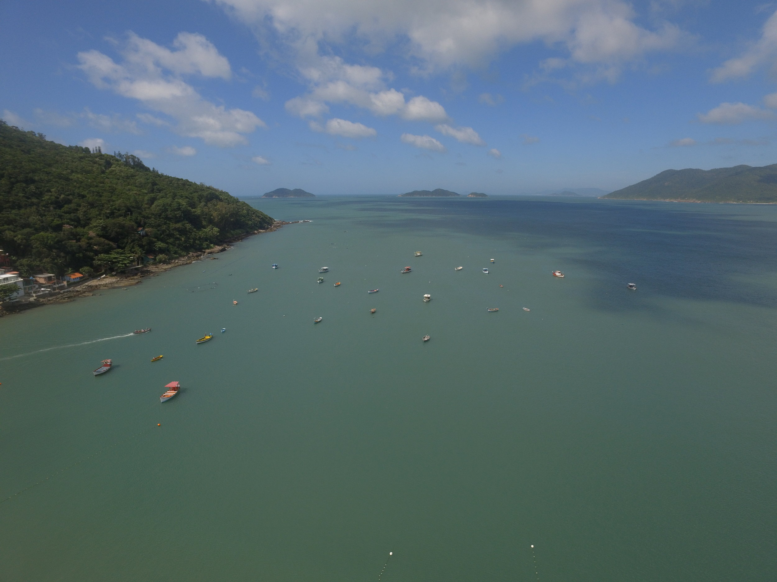 View of the south end of Florianopolis, Brazil.