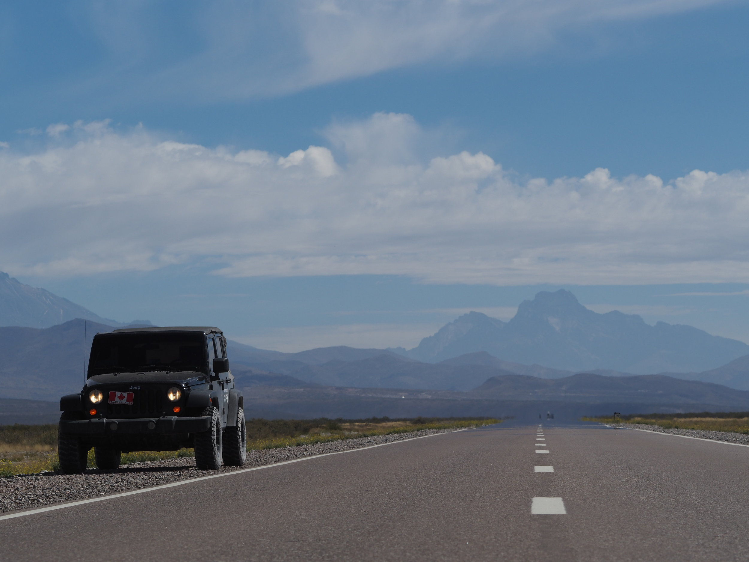 The Wrangler on Ruta 40 in Argentina. Taken with the 75mm f/1.8