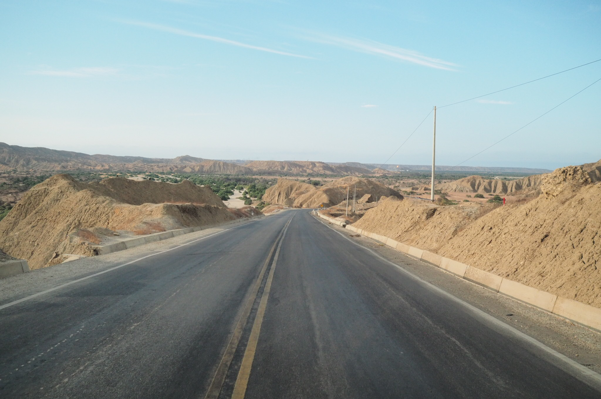 View of the panamerican highway near Zorritos, Peru. Just after the Ecuadorian border.