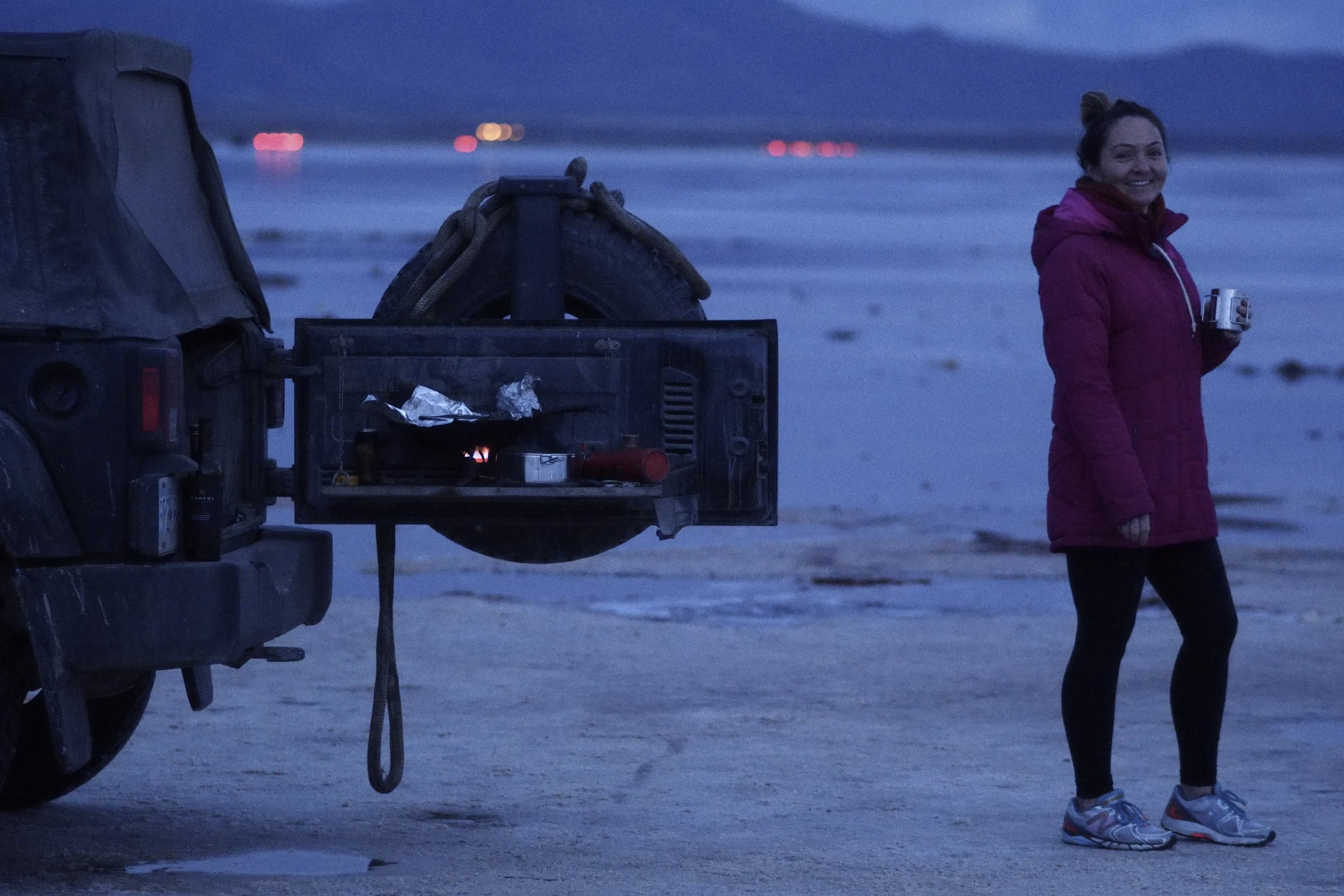 Cooking at the back of the Jeep, in the largest salt flat on Earth.