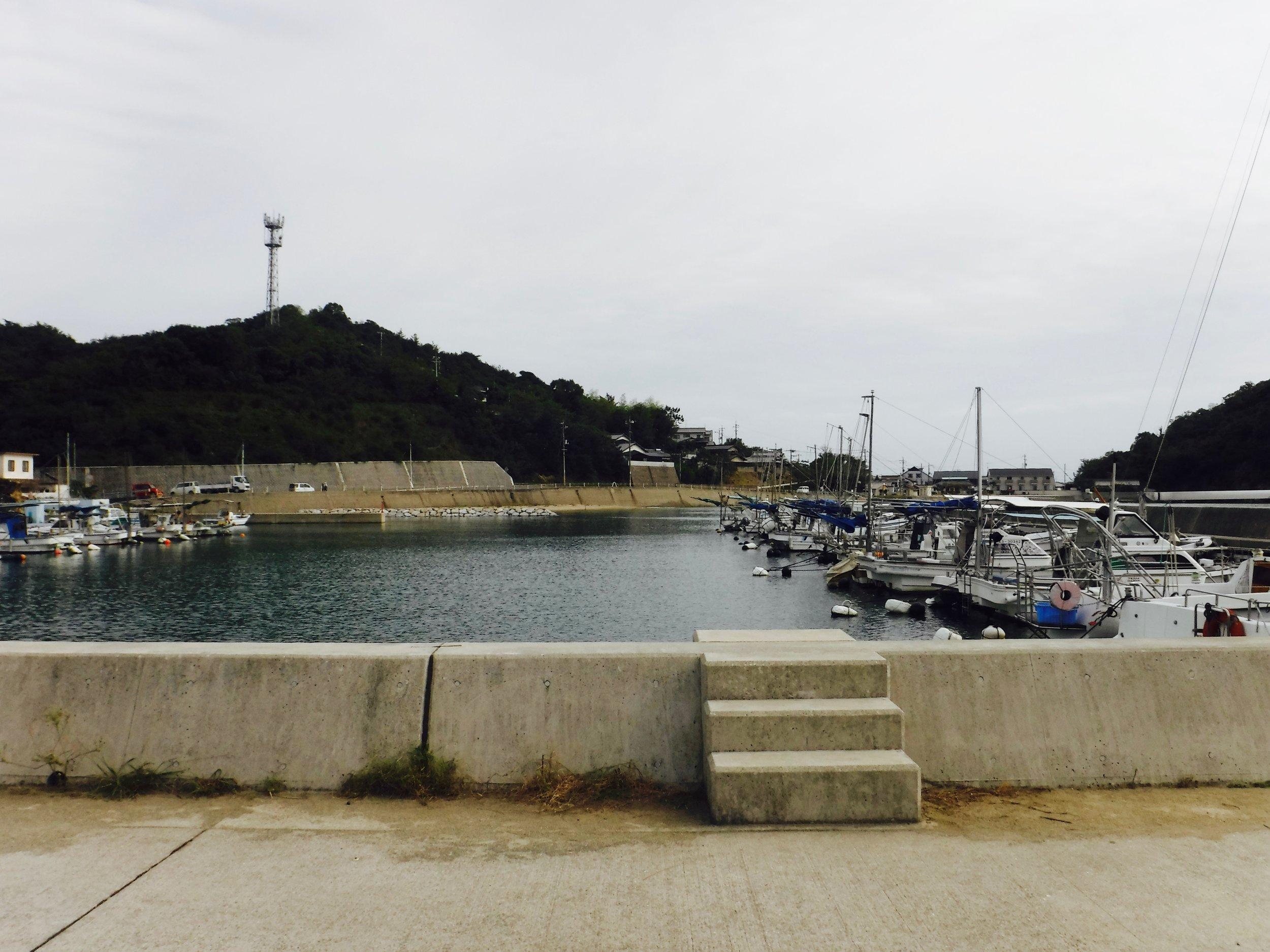 静かな宮浦港。