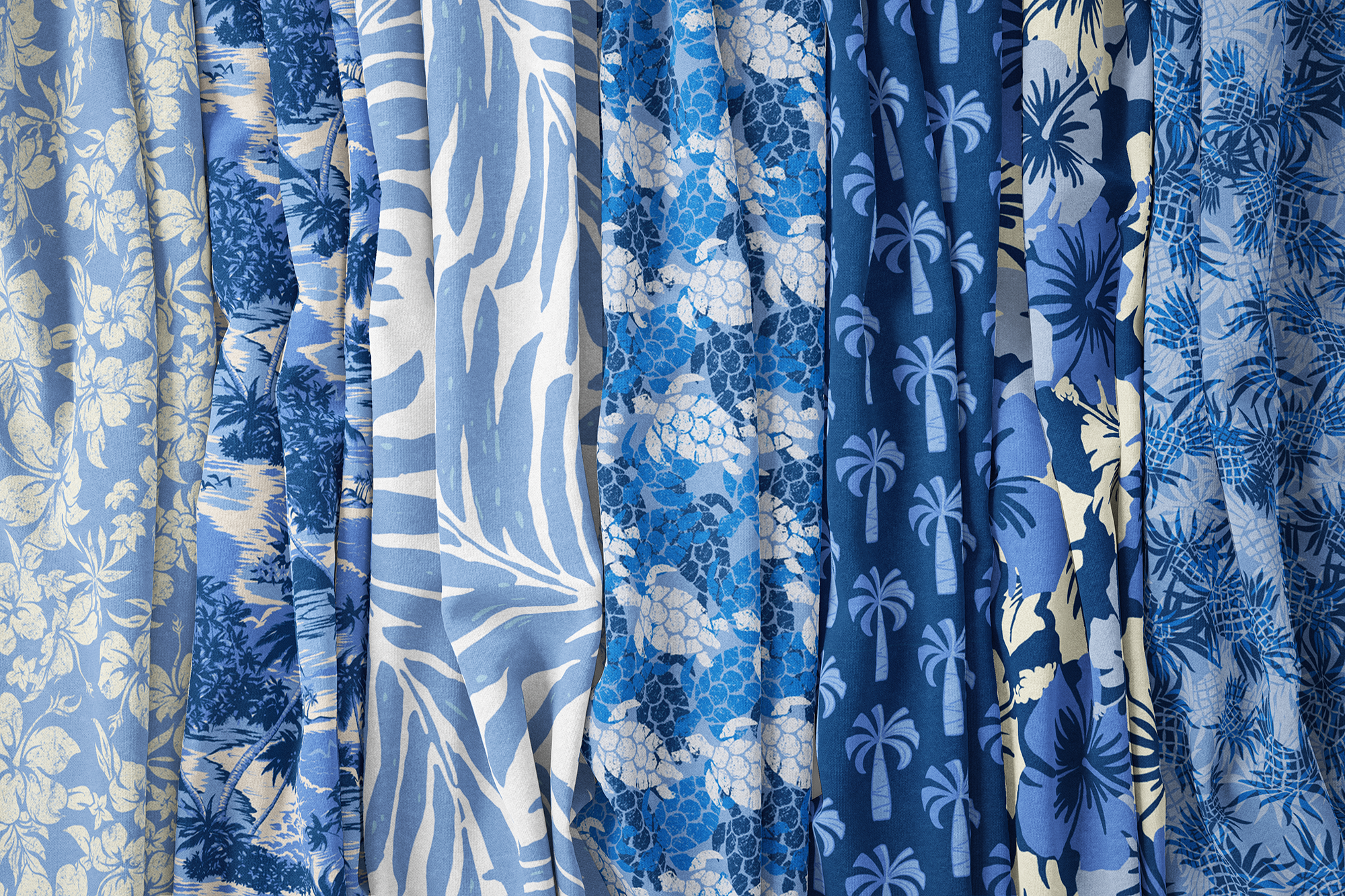 Ocean and Sky Blues Hawaiian Fabrics