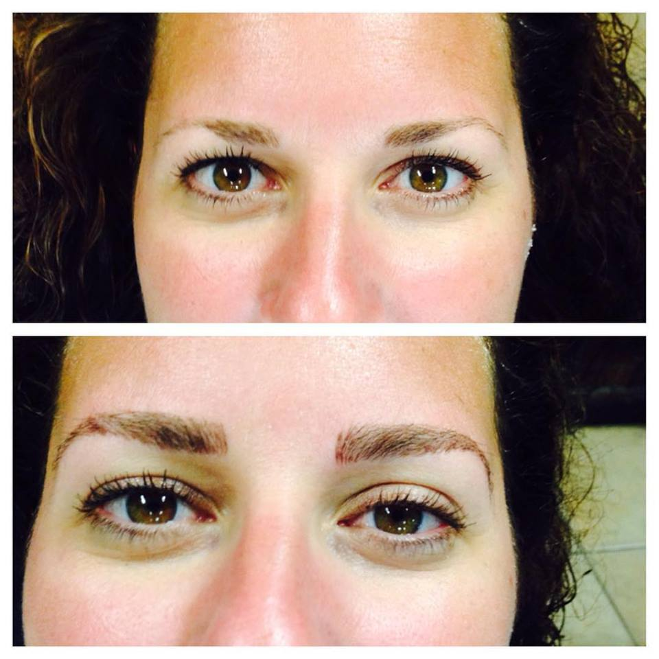 Sleek Brows by Amy Miller. (Top is before bottom is after the 3D brow sculpting and extensions.)