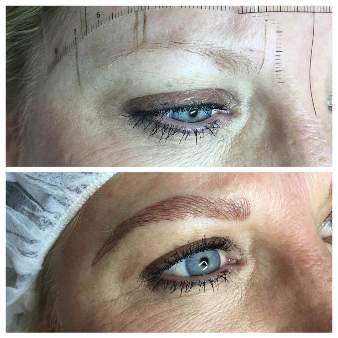 Microblading by Amy Miller at Blume minutes after being completed.