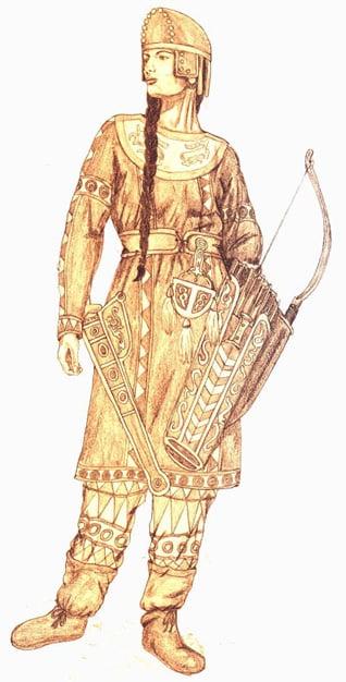 Artist's depiction of a Sarmatian warrior.