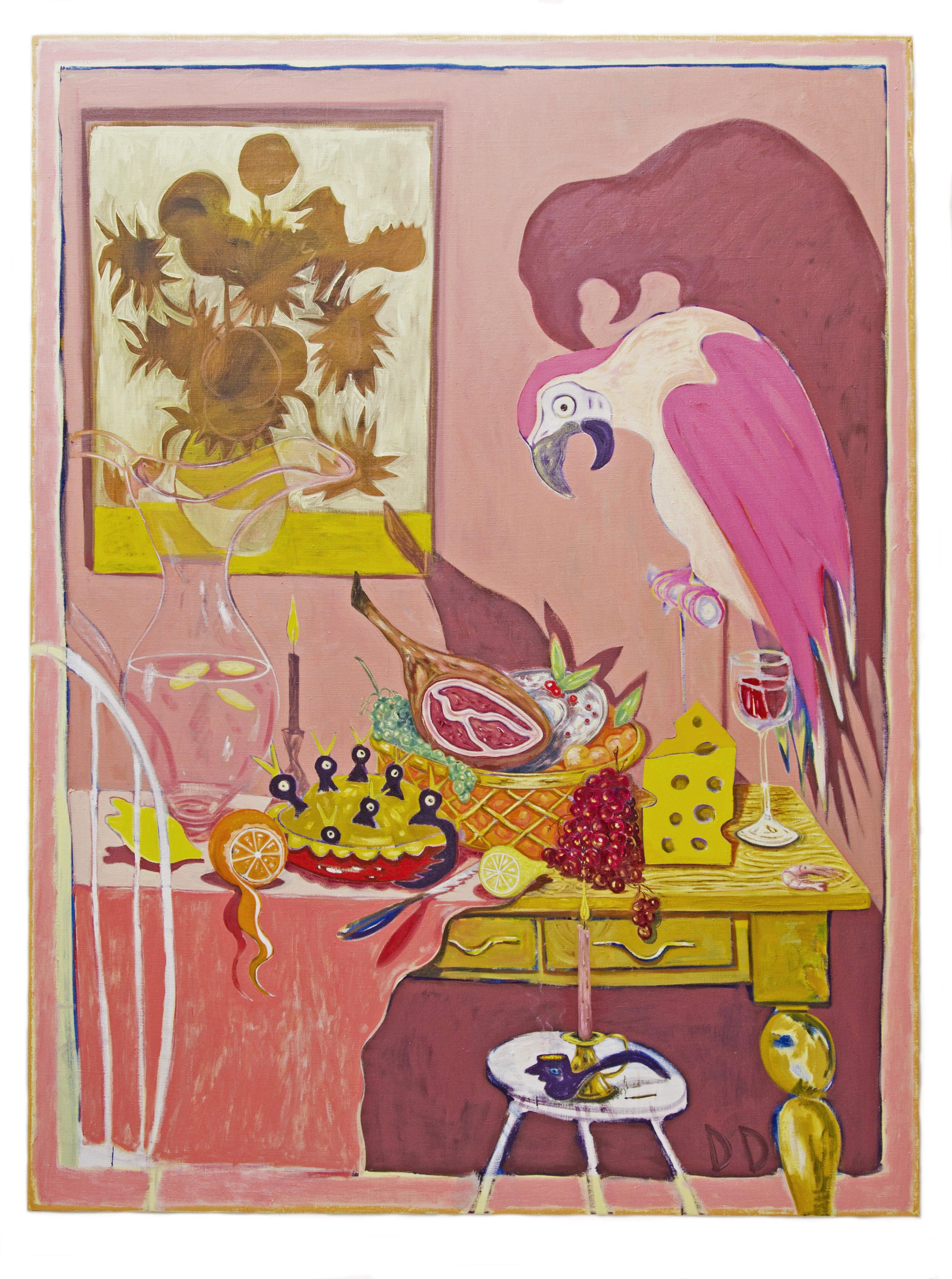 Long Table With Birds  Oil on Flax  150 x 200 cm  2017