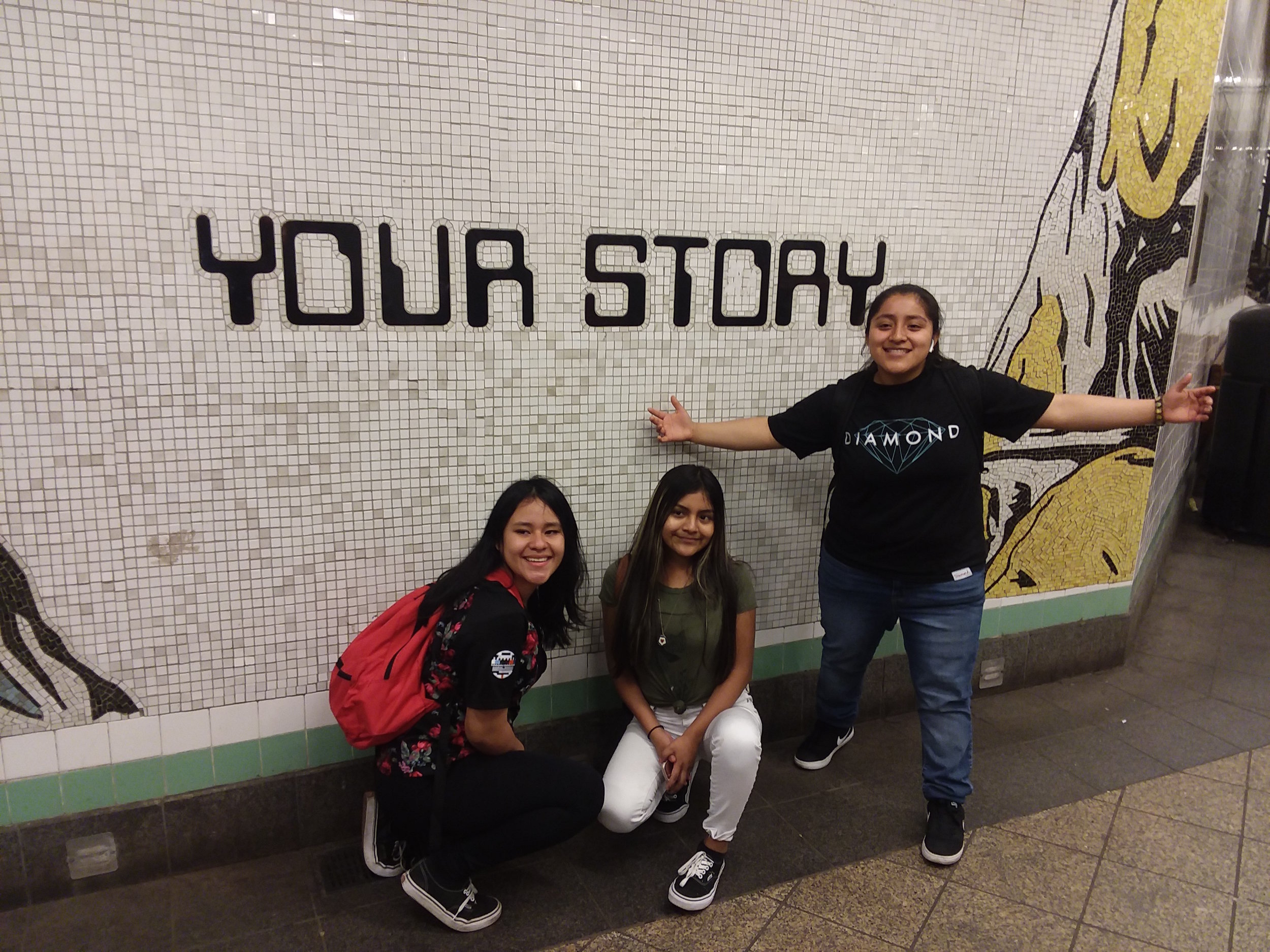 Students in the subway