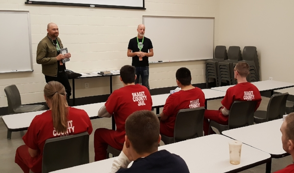 Chris and Matt leading the first workshop at the Community Justice Center, September 2018