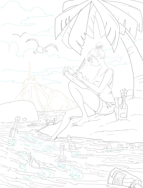 Finished inks. As I did these in Sketchbook Pro it afforded me the opportunity to use a colored line (as opposed to black) for anything in the background or below the waters surface.