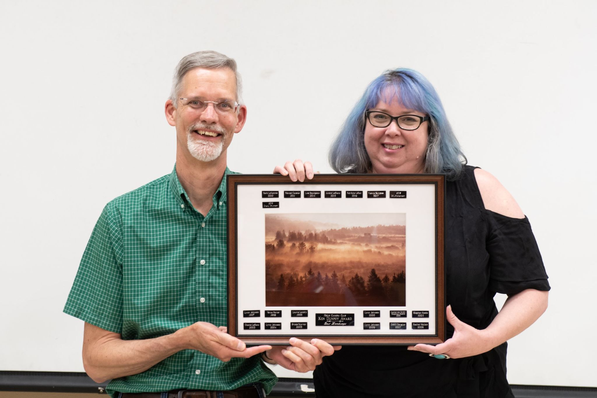Receiving the Ken Dunphy Landscape Award at the Moncton Focus Camera Club.