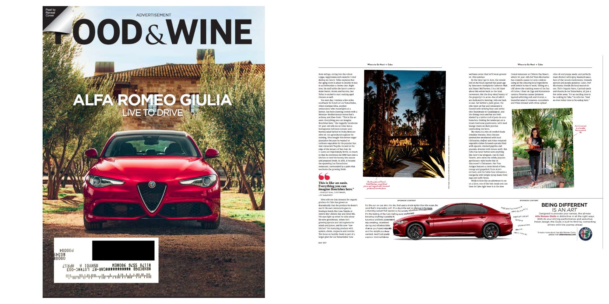 Alfa Romeo Giulia faux cover and 1/3 Ad Layout for  Food & Wine.  Alternate versions created for  Travel & Leisure  and  Departures.