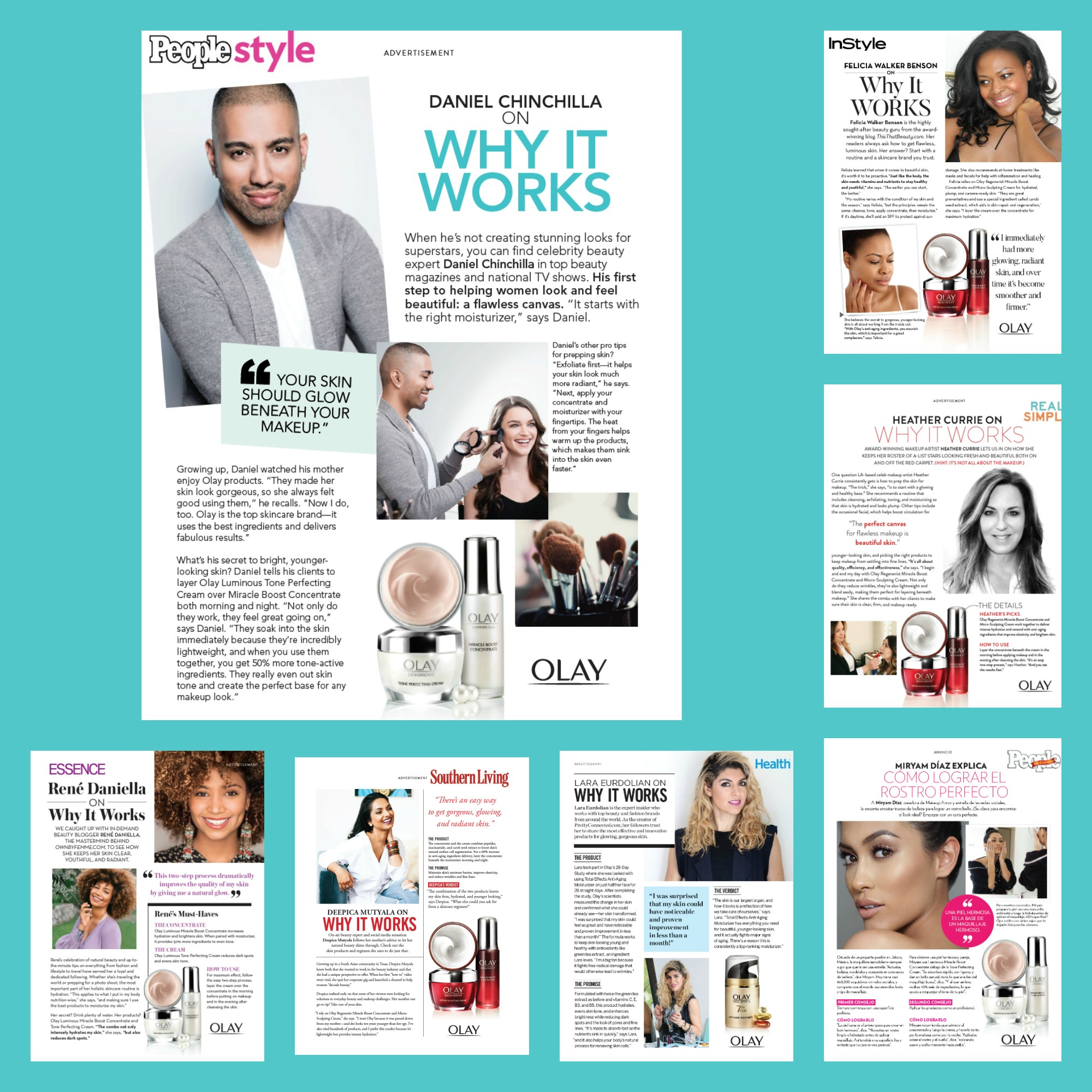 Full-page branded content each featuring different influencers for Olay in print editions of  People, InStyle, Real Simple, People en Espanol, Health, Southern Living,  and  Essence.  The Q4 campaign was so successful, it was duplicated for Q1 inclusions the following year.