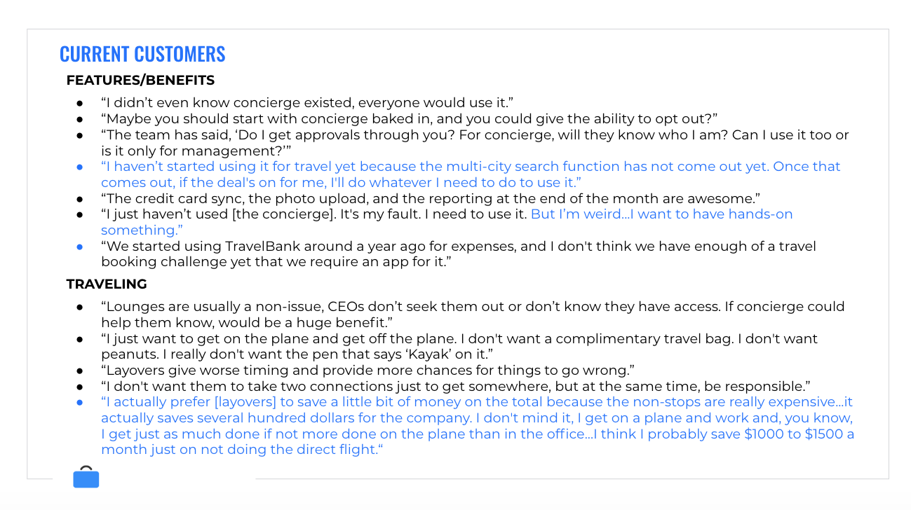 Takeaways from interviews with TravelBank clients.