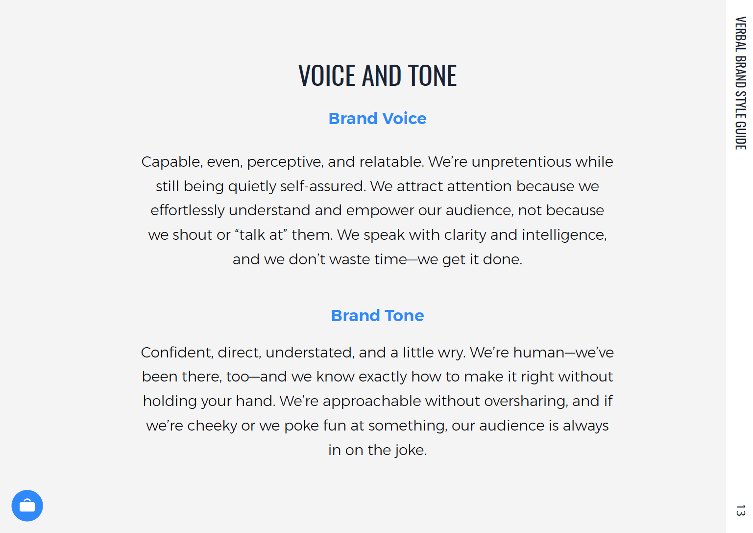 Voice and tone characteristics for primary audiences.