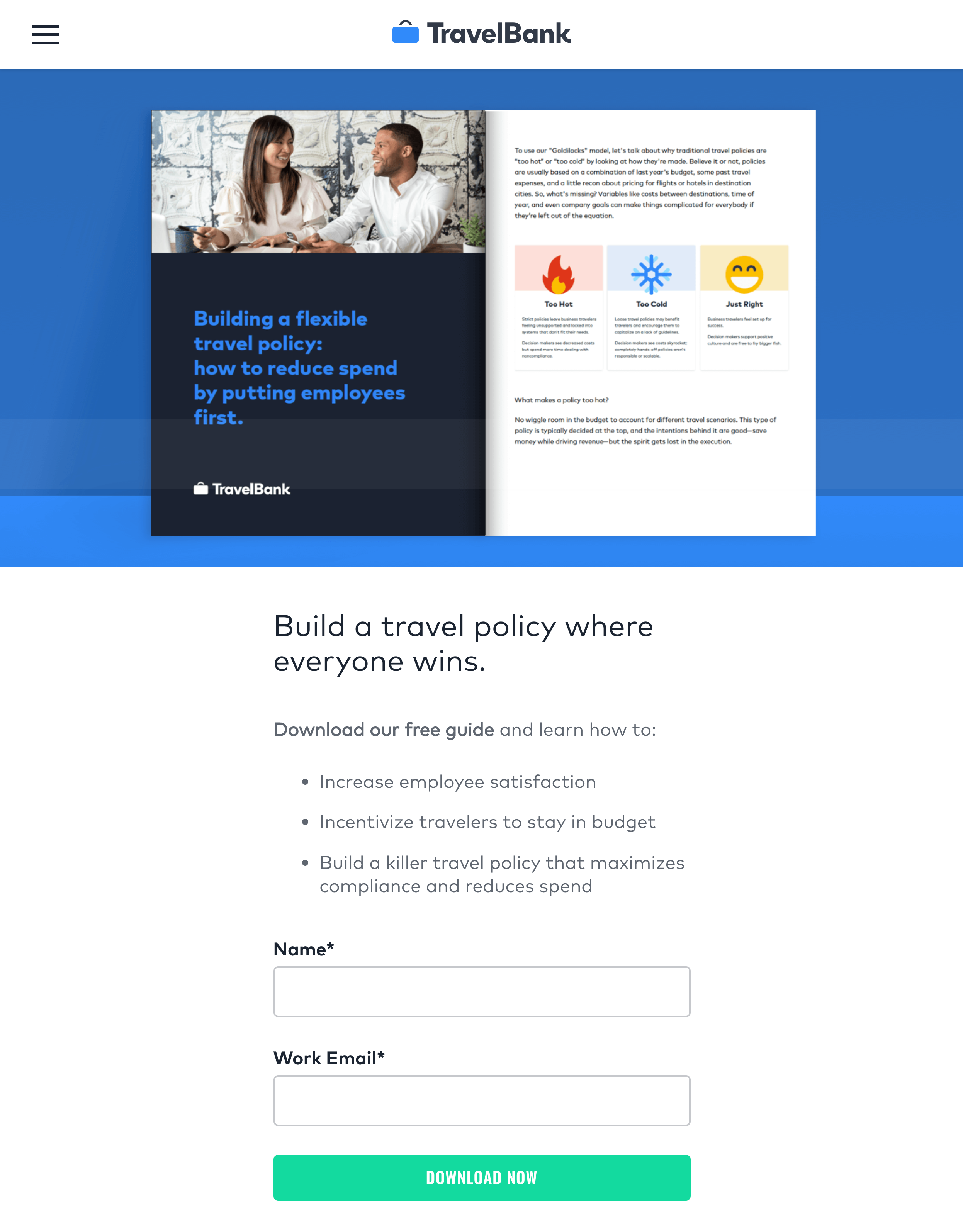 Content and promotion for TravelBank's first ever long-form/DLC content campaign: a 13-page guide to improving internal travel policies, including landing page and social ads.