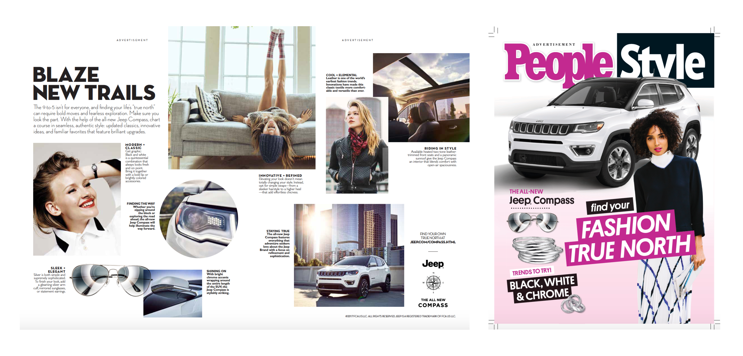 Jeep Compass two-page spread for  InStyle  and faux cover for  People Style.