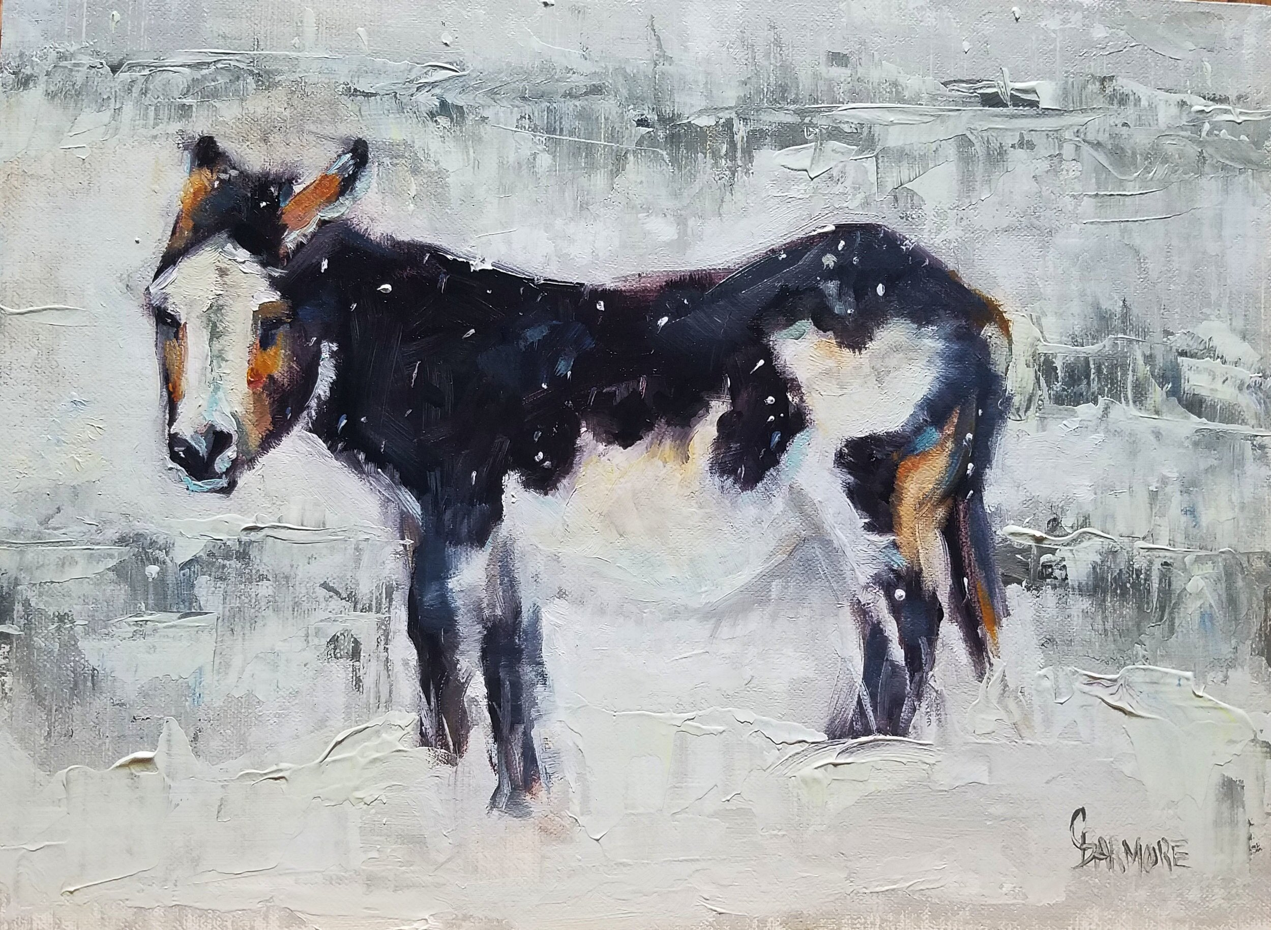 Donkey in a Snowstorm