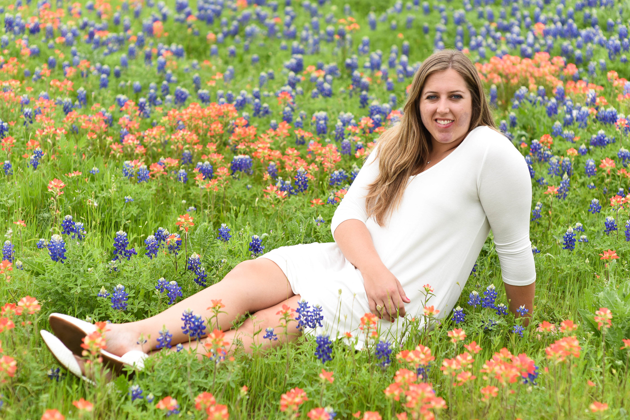 Sarah and her roommate found this beautiful field of Bluebonnets and Indian Paint Brushes on accident.