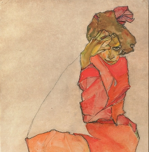 Kneeling Female In Orange Dress Egon Schiele.jpg